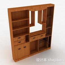 木质客厅组合展示柜3d模型下载