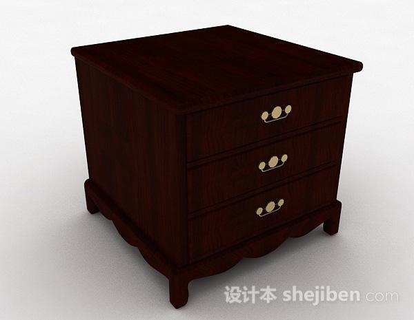 现代风格棕色三层床头柜