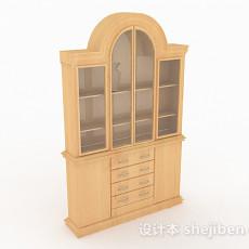 家居木质书柜3d模型下载