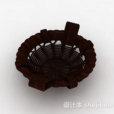 棕色编织果篮3d模型下载