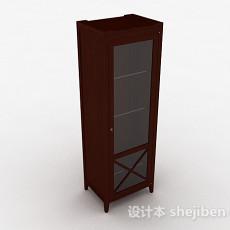 棕色木质单门衣柜3d模型下载
