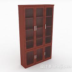 红棕色书柜3d模型下载
