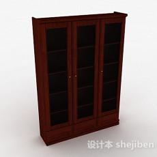 棕色木质三门衣柜3d模型下载