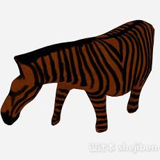 棕色斑马雕刻品摆件3d模型下载