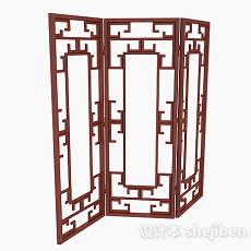 枣红色三面木质屏风3d模型下载