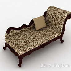 欧式棕色布艺沙发3d模型下载