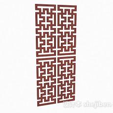 中式枣红色镂空隔断3d模型下载