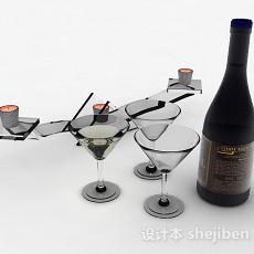蓝色瓶包装香槟3d模型下载