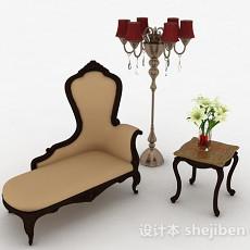 欧式米白色单人沙发3d模型下载