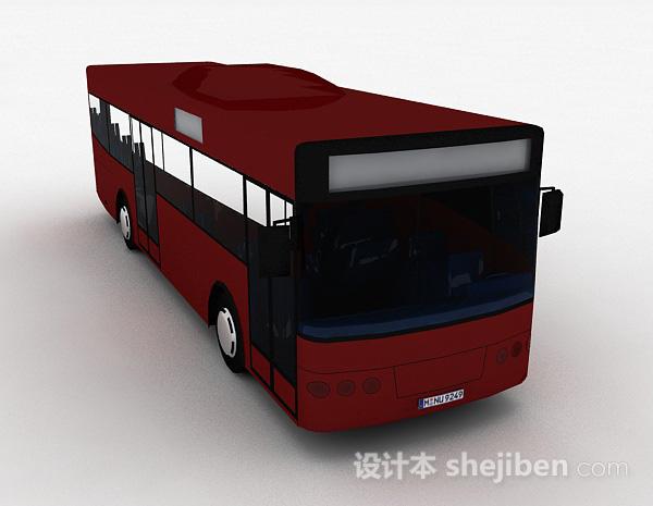 现代风红色巴士车