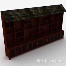 棕色大型木质展示柜3d模型下载
