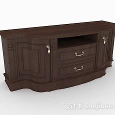 实木棕色电视柜3d模型下载