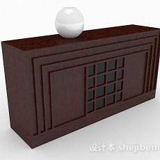 新中式棕色厅柜3d模型下载