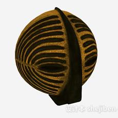 金色条纹面具摆设品3d模型下载