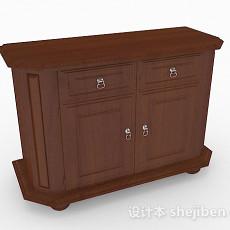 棕色木质双门电视柜3d模型下载