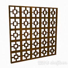 中式风格浅棕色方形窗户3d模型下载