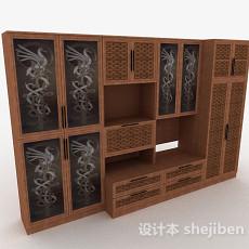 中式家居衣柜3d模型下载