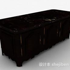 欧式风格深棕色单层展示柜3d模型下载