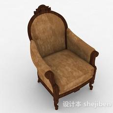 欧式棕色单人沙发3d模型下载