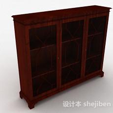 枣红色木质三门展示柜3d模型下载