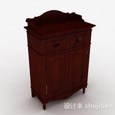 欧式枣红色双门储物柜3d模型下载