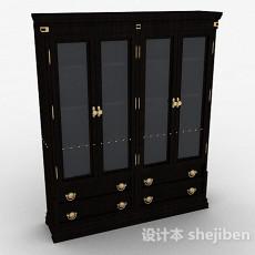 黑色木质书柜3d模型下载