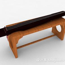 中式棕色古琴3d模型下载
