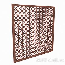 镂空菱形图案木质窗户3d模型下载