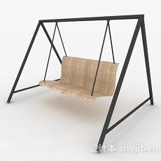 现代风浅木色室外吊椅3d模型下载