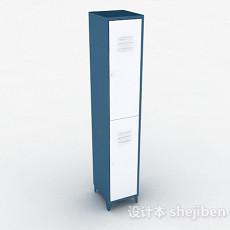 蓝色单门上下层储物柜3d模型下载