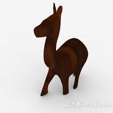 棕色动物雕刻摆件品3d模型下载