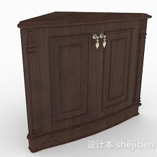 棕色实木玄关柜3d模型下载