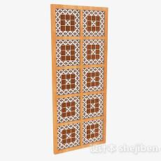 格子花纹木质隔断3d模型下载
