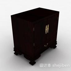 中式棕色衣柜3d模型下载