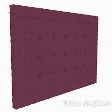 紫色床头软包3d模型下载