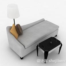 灰色单人布艺沙发3d模型下载
