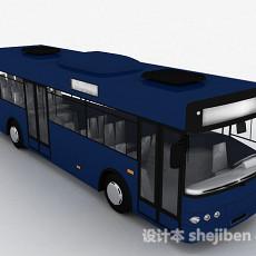 深蓝色巴士车3d模型下载