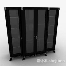 黑色书柜3d模型下载