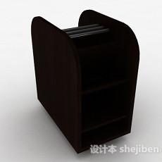 深棕色木质多层展示柜3d模型下载
