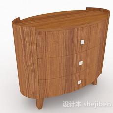 简约木质床头柜3d模型下载