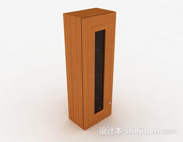 木质单门三层展示柜