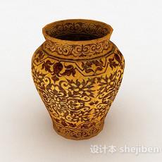 姜黄色花纹陶罐3d模型下载