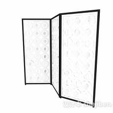现代风格白色镂空三门隔断3d模型下载