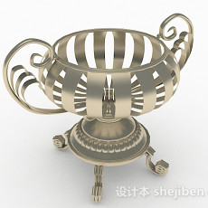 银色金属水果容器3d模型下载