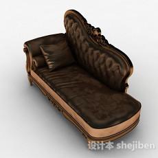 欧式皮质单人沙发3d模型下载