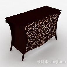 欧式风枣红色多层储物柜3d模型下载