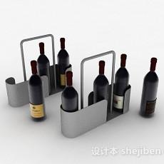 灰色金属红酒提篮3d模型下载