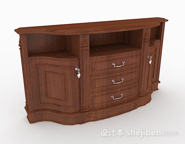棕色木质家居厅柜