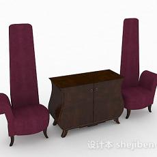 个性紫色单人沙发组合3d模型下载