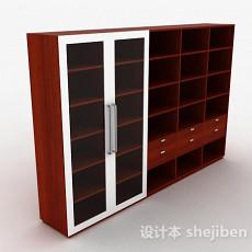 枣红色格子展示柜3d模型下载